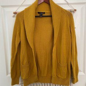 Mango Mustard Knit Open Cardigan Folded Collar